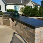 Big Green Egg Cooker fitted into countertop